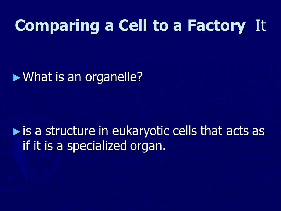 Comparing a Cell to a Factory It ► What is an organelle? ► is a structure in eukaryotic cells that acts as if it is a specialized organ.