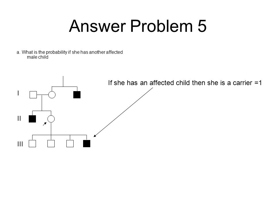 Answer Problem 5 a. What is the probability if she has another affected male child I II III If she has an affected child then she is a carrier =1