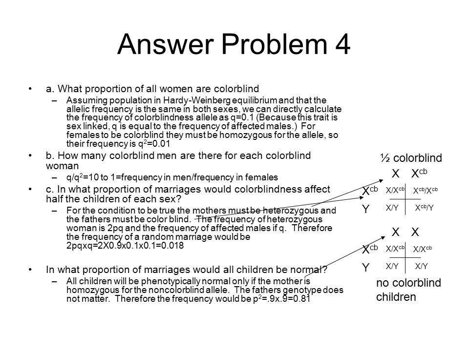 Answer Problem 4 a. What proportion of all women are colorblind –Assuming population in Hardy-Weinberg equilibrium and that the allelic frequency is t