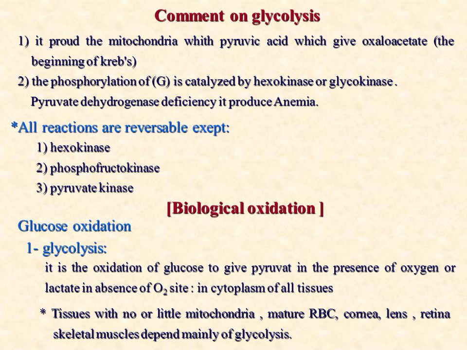 Comment on glycolysis 1) it proud the mitochondria whith pyruvic acid which give oxaloacetate (the beginning of kreb s) 2) the phosphorylation of (G) is catalyzed by hexokinase or glycokinase.