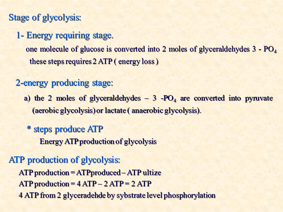 Stage of glycolysis: 1- Energy requiring stage.
