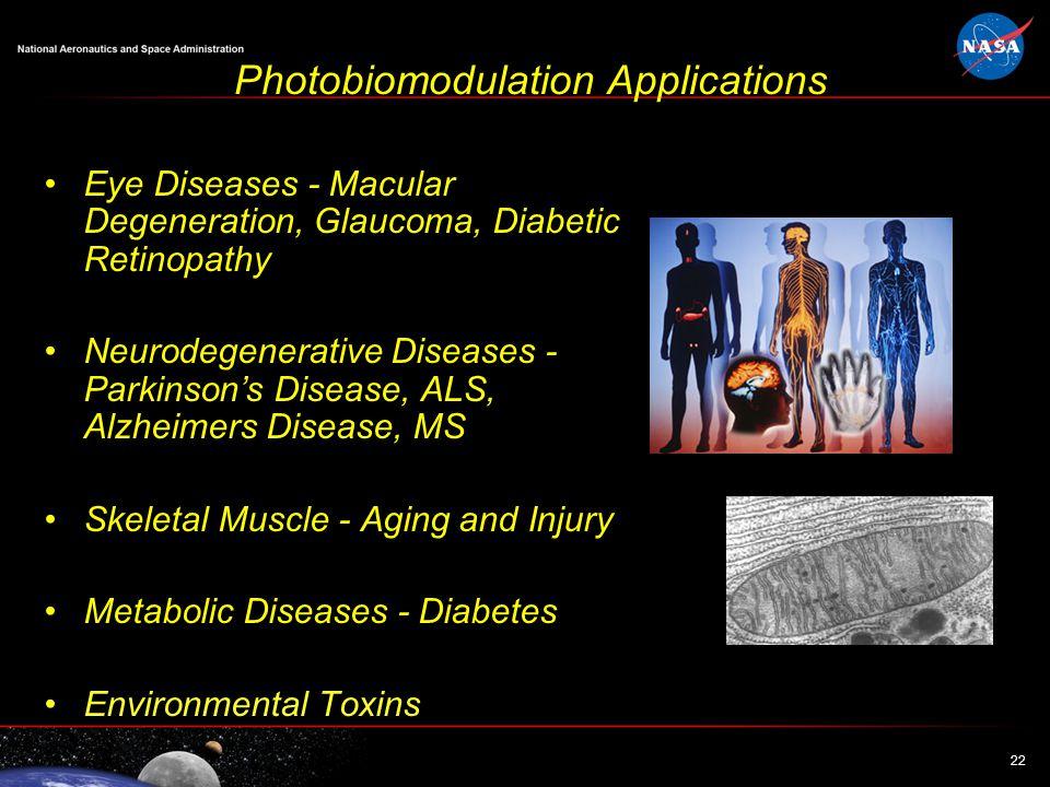 22 Photobiomodulation Applications Eye Diseases - Macular Degeneration, Glaucoma, Diabetic Retinopathy Neurodegenerative Diseases - Parkinson's Diseas