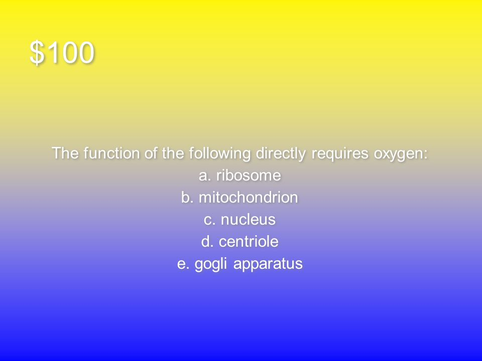 $100 The function of the following directly requires oxygen: a.