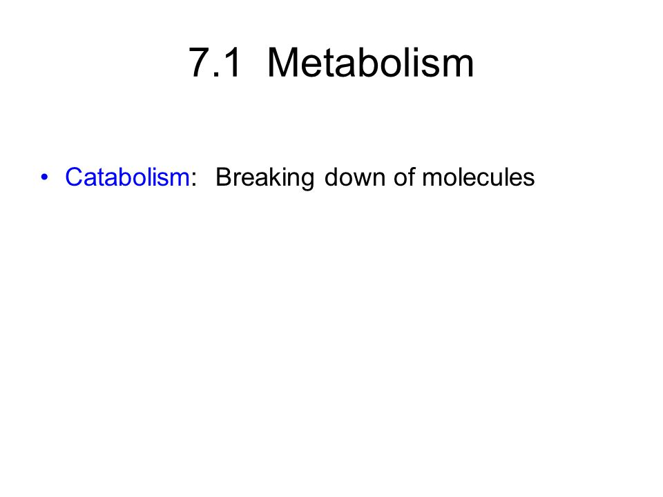 7.1 Metabolism Catabolism: Breaking down of molecules Anabolism: Building up of molecules (ATP is the energy currency used by these reactions)