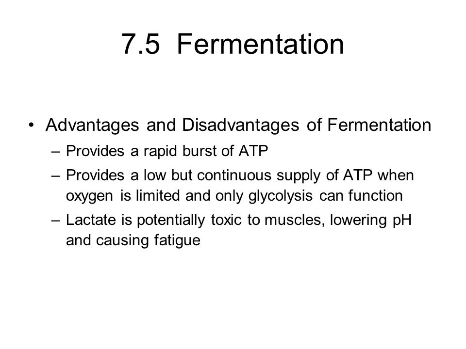 7.5 Fermentation Advantages and Disadvantages of Fermentation –Provides a rapid burst of ATP –Provides a low but continuous supply of ATP when oxygen is limited and only glycolysis can function –Lactate is potentially toxic to muscles, lowering pH and causing fatigue