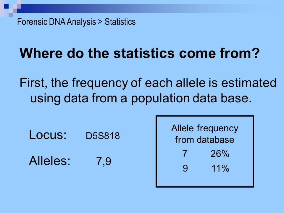 Where do the statistics come from? First, the frequency of each allele is estimated using data from a population data base. Locus: D5S818 Alleles: 7,9