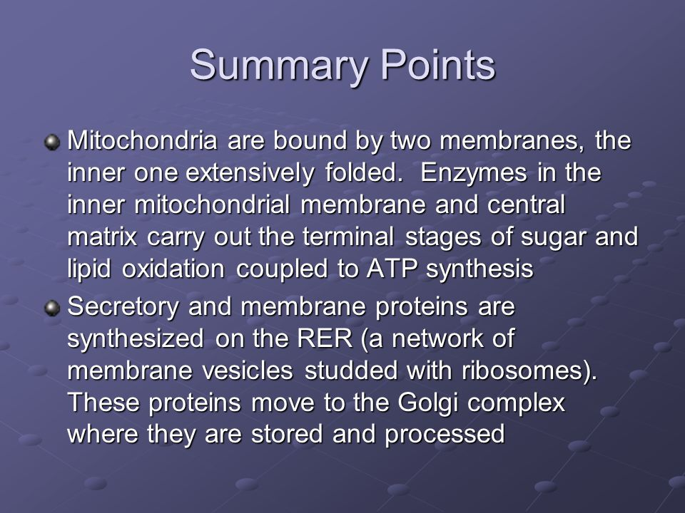 Summary Points Mitochondria are bound by two membranes, the inner one extensively folded. Enzymes in the inner mitochondrial membrane and central matr