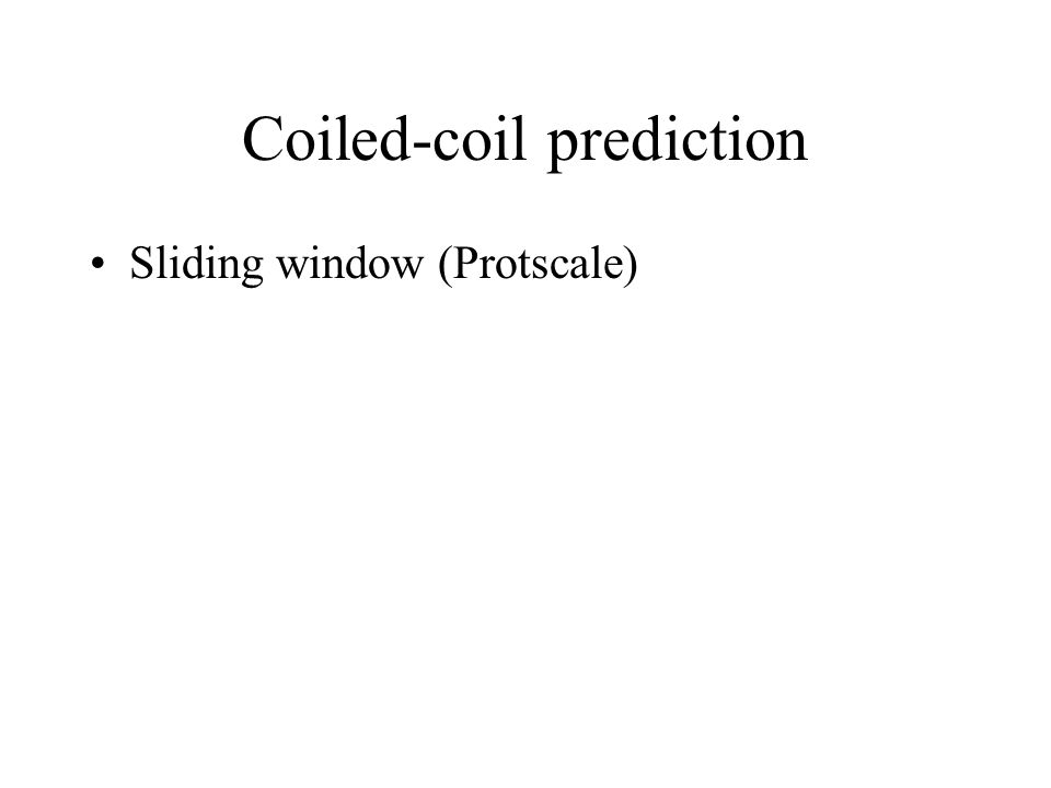 Coiled-coil prediction Sliding window (Protscale)