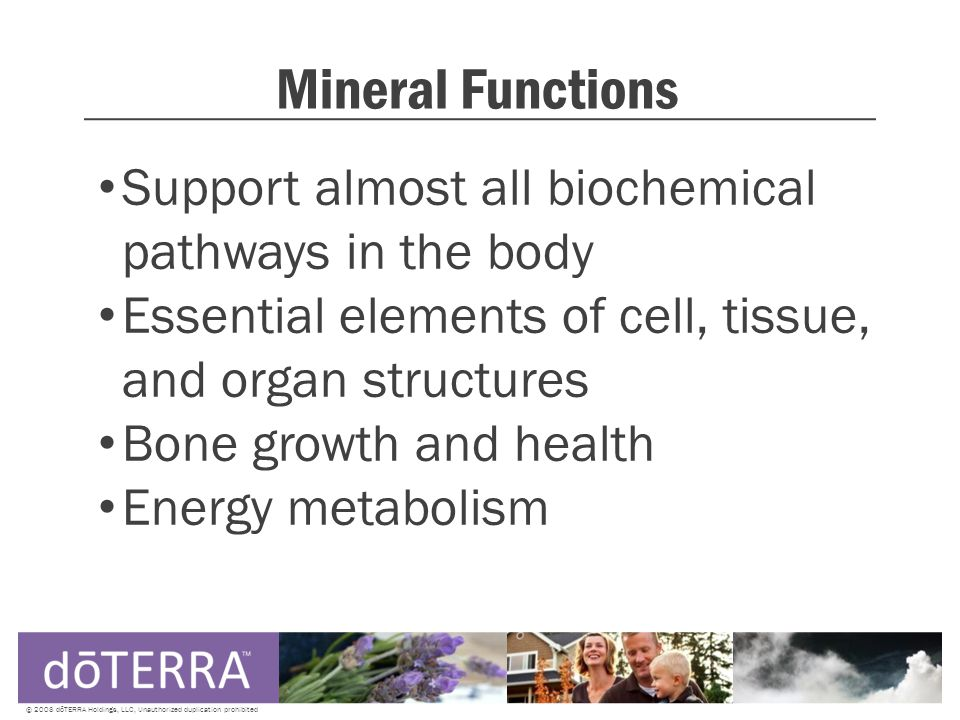 Mineral Functions Support almost all biochemical pathways in the body Essential elements of cell, tissue, and organ structures Bone growth and health Energy metabolism © 2008 dōTERRA Holdings, LLC, Unauthorized duplication prohibited