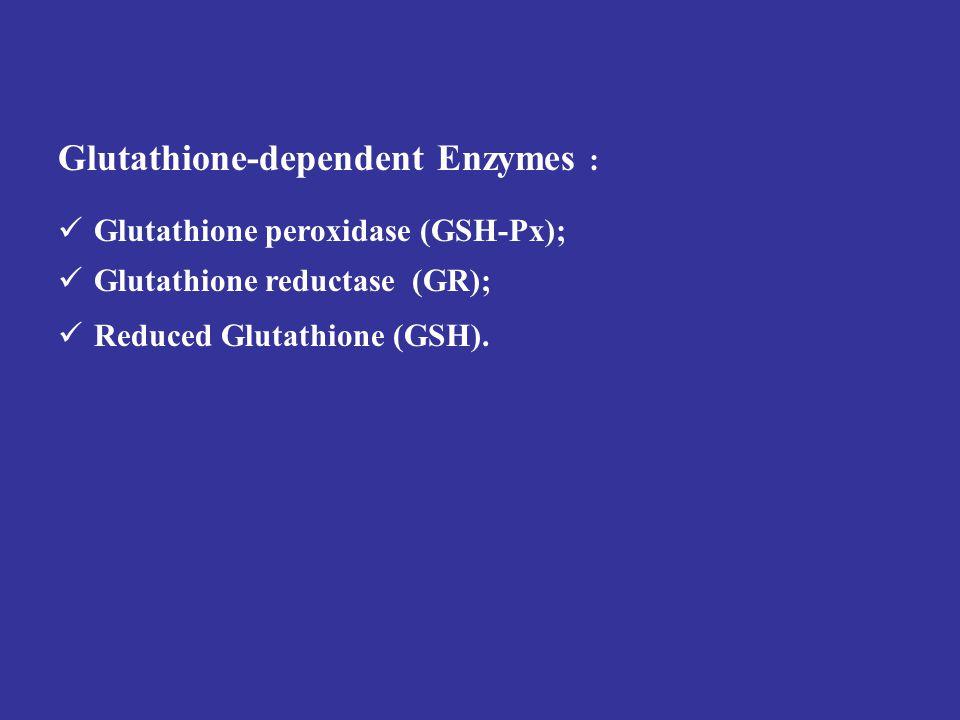Glutathione-dependent Enzymes : Glutathione peroxidase (GSH-Px); Glutathione reductase (GR); Reduced Glutathione (GSH).