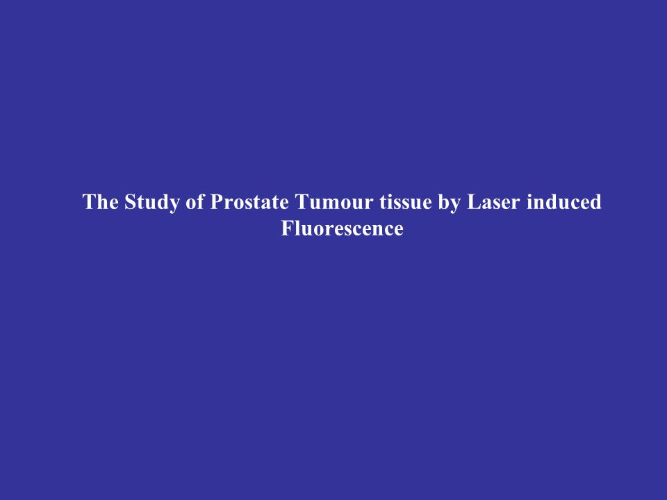 Tumour tissue fluorescence spectrum of men with prostate benign hyperplasia λ (nm) 440-460nm (I=0,48) 390-400nm (I=0,38) Fluorescence intensity (I)
