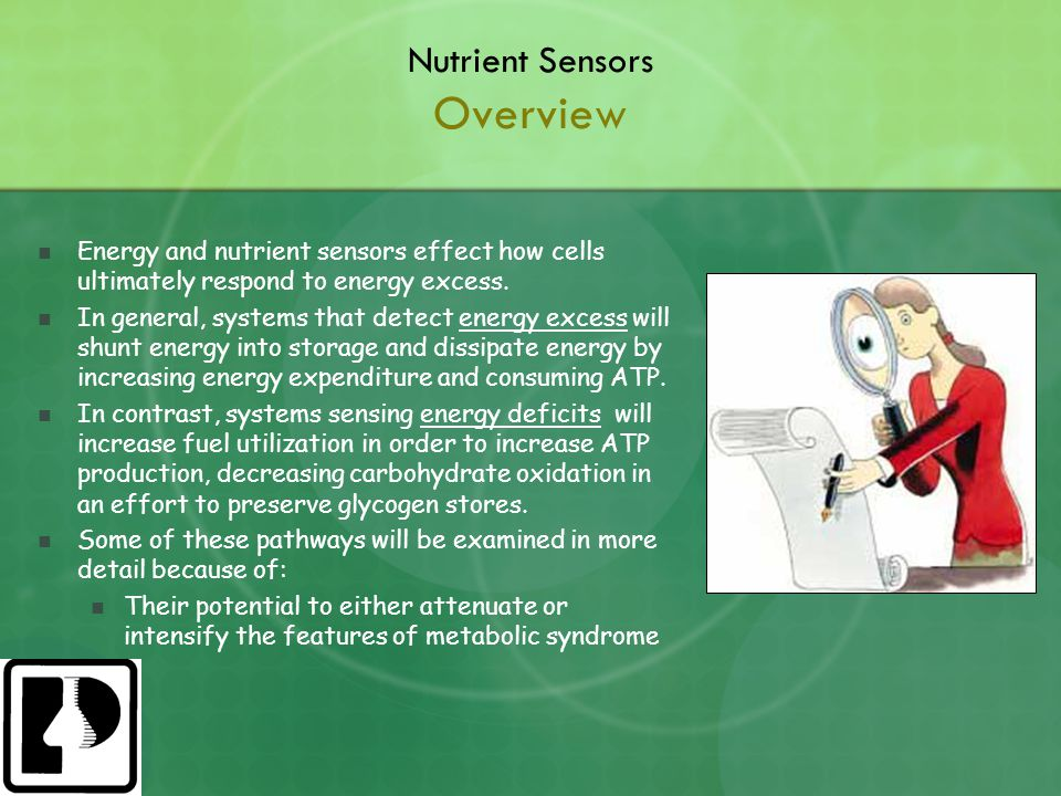 Nutrient Sensors Overview Energy and nutrient sensors effect how cells ultimately respond to energy excess.