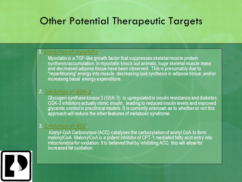 Other Potential Therapeutic Targets 1.Inhibition of myostatin.