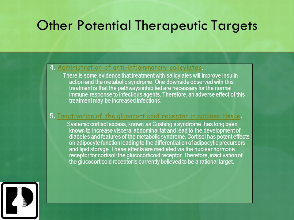 Other Potential Therapeutic Targets 4. Administration of anti-inflammatory salicylates.