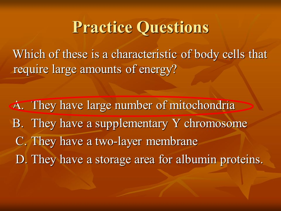 Practice Questions Which of these is a characteristic of body cells that require large amounts of energy.