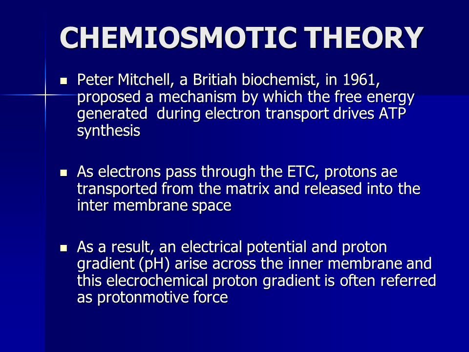CHEMIOSMOTIC THEORY Peter Mitchell, a Britiah biochemist, in 1961, proposed a mechanism by which the free energy generated during electron transport d