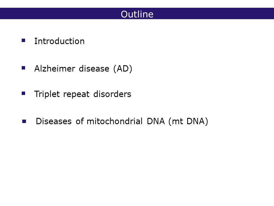 2° lic Biomedische Wetenschappen 2006 - 2007 Alzheimer disease - APP APP: transmembranary protein -amyloid motif extracellular to the middle of membrane mutations cause increased production of specific -amyloid fragment (A42) APP mutations in less than 1% of all early-onset cases
