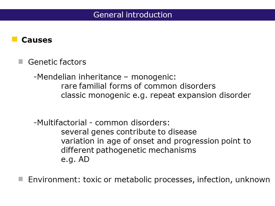 Outline Triplet repeat disorders Alzheimer disease (AD) Introduction Diseases of mitochondrial DNA (mt DNA)