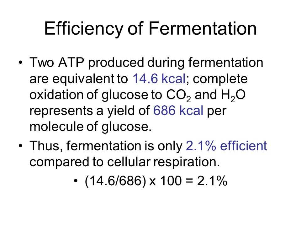 Efficiency of Fermentation Two ATP produced during fermentation are equivalent to 14.6 kcal; complete oxidation of glucose to CO 2 and H 2 O represent