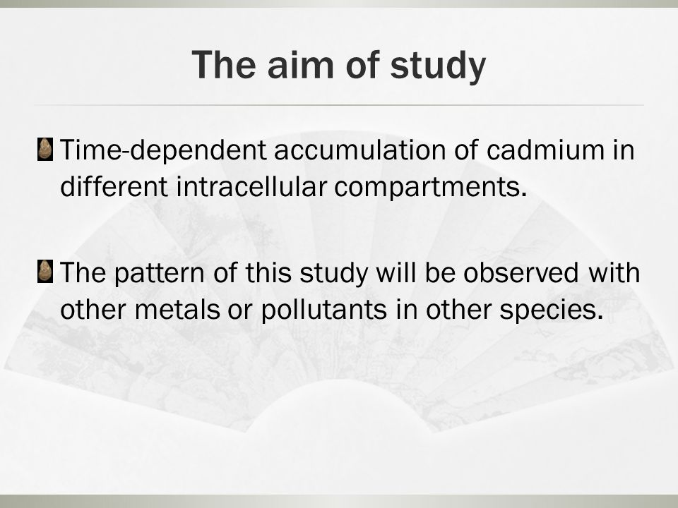 The aim of study Time-dependent accumulation of cadmium in different intracellular compartments.
