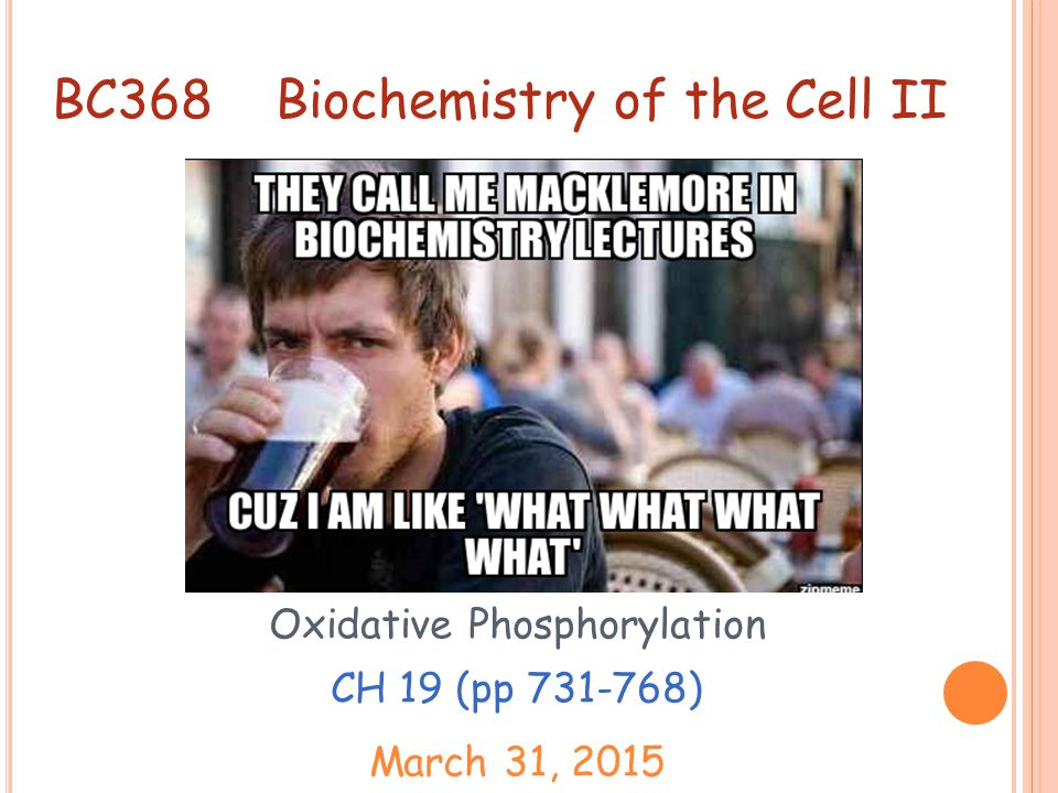Anyone who is not confused about oxidative phosphorylation just doesn t understand the situation. -Efraim Racker 1913-1991 Oxidative phosphorylation is the coupling of energy release during electron transport to ATP synthesis.