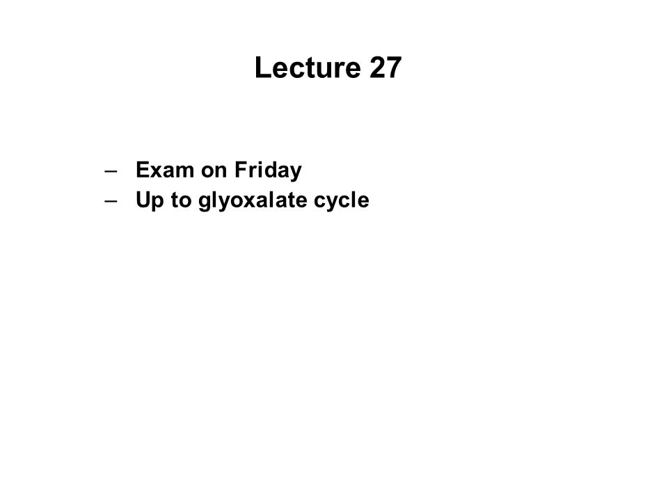 Lecture 27 –Exam on Friday –Up to glyoxalate cycle