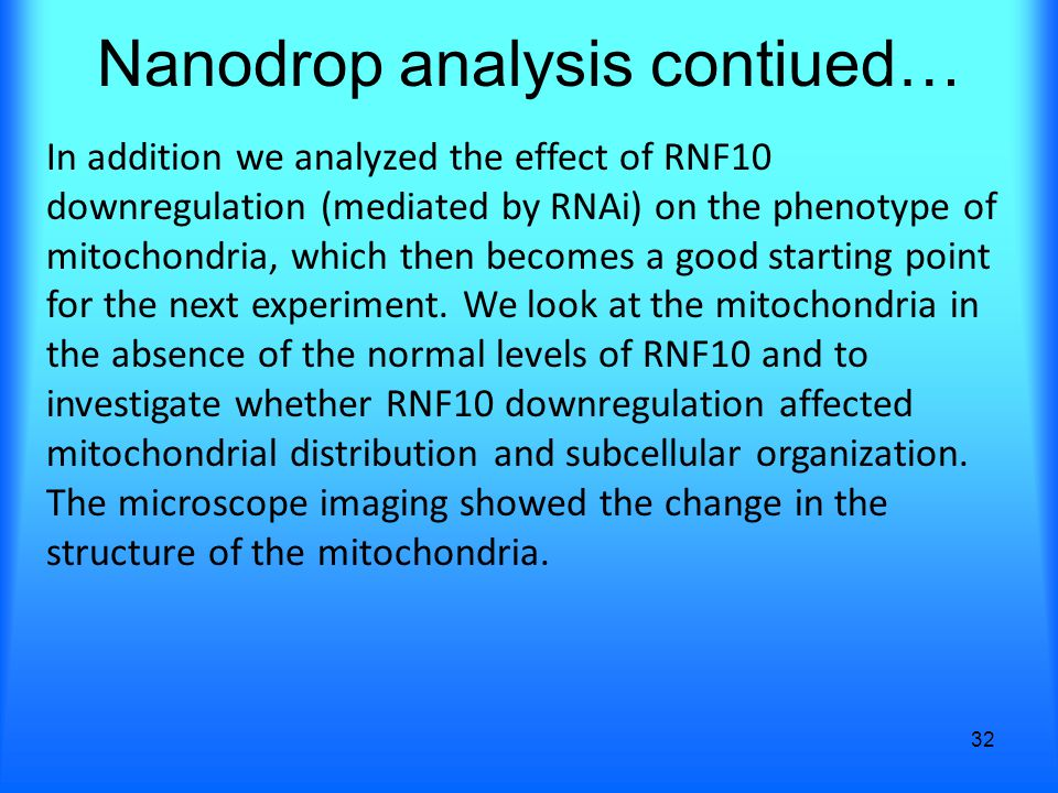 Nanodrop analysis contiued… 32 In addition we analyzed the effect of RNF10 downregulation (mediated by RNAi) on the phenotype of mitochondria, which then becomes a good starting point for the next experiment.