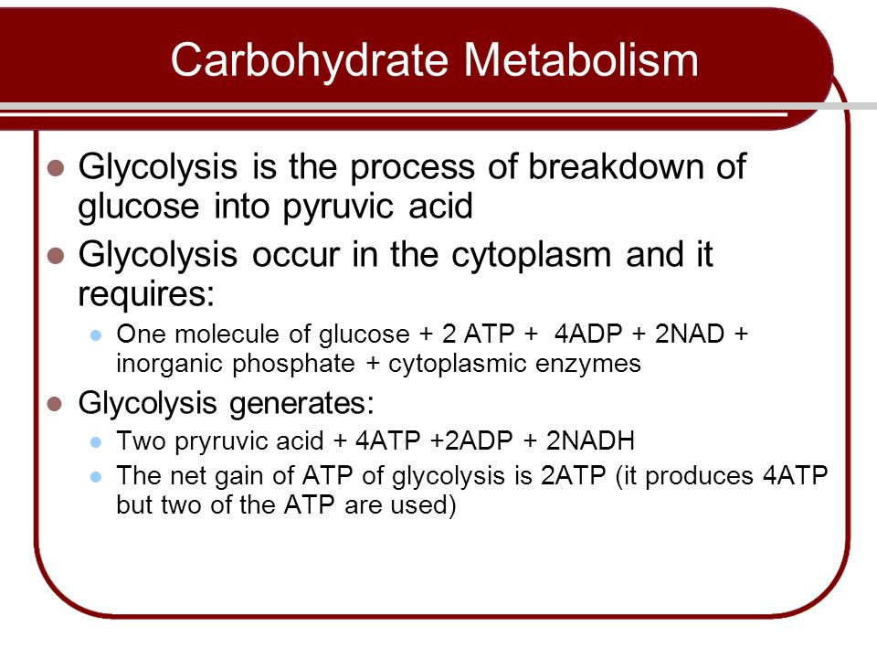 Glycolysis is the process of breakdown of glucose into pyruvic acid Glycolysis occur in the cytoplasm and it requires: One molecule of glucose + 2 ATP