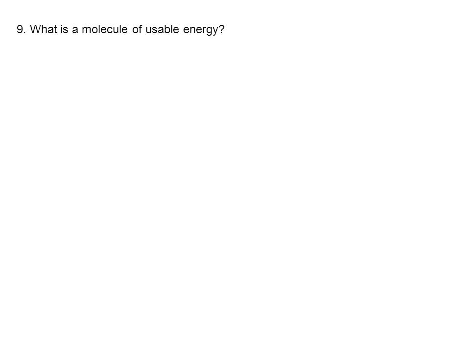 9. What is a molecule of usable energy?
