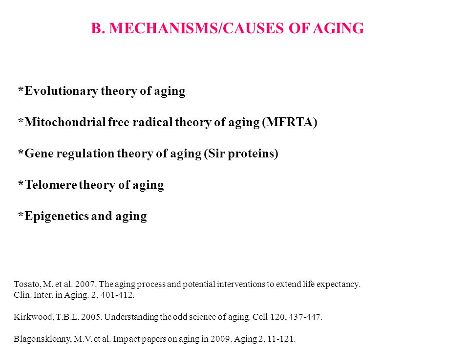 B. MECHANISMS/CAUSES OF AGING *Evolutionary theory of aging *Mitochondrial free radical theory of aging (MFRTA) *Gene regulation theory of aging (Sir