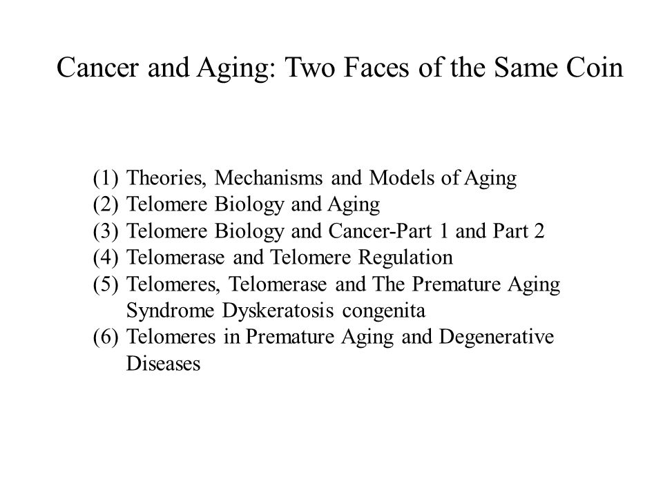 (1)Theories, Mechanisms and Models of Aging (2)Telomere Biology and Aging (3)Telomere Biology and Cancer-Part 1 and Part 2 (4)Telomerase and Telomere