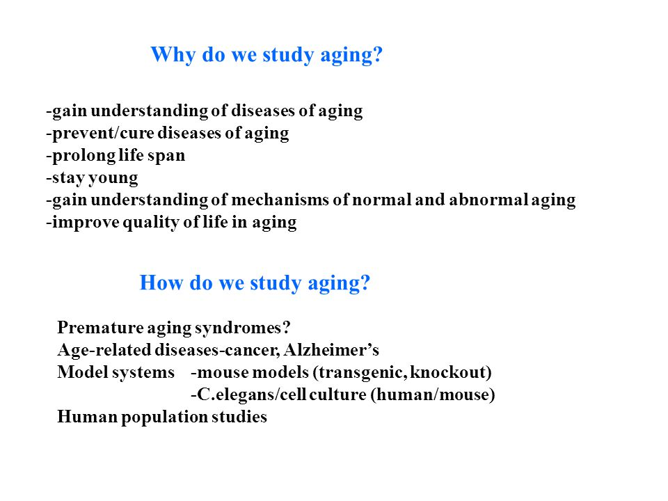 Why do we study aging? -gain understanding of diseases of aging -prevent/cure diseases of aging -prolong life span -stay young -gain understanding of