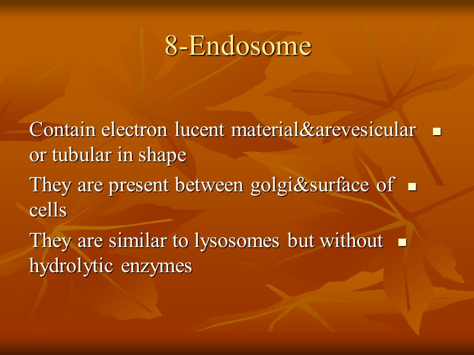 8-Endosome Contain electron lucent material&arevesicular or tubular in shape Contain electron lucent material&arevesicular or tubular in shape They ar