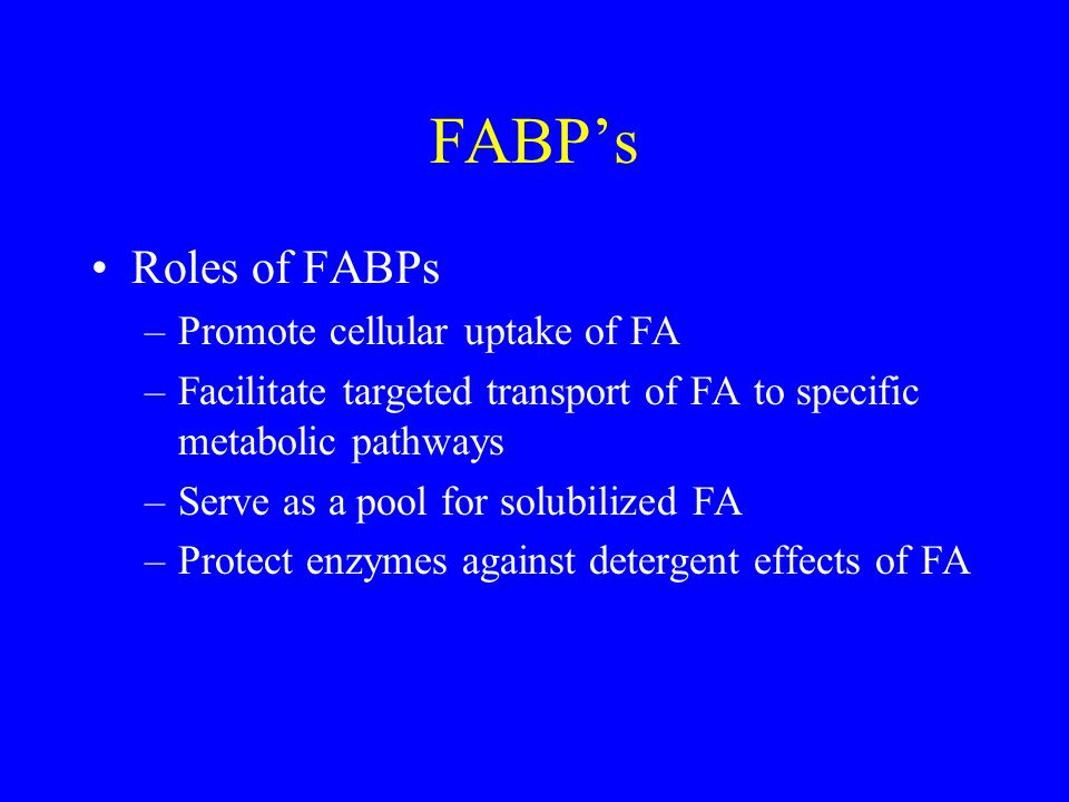 FABP's Roles of FABPs –Promote cellular uptake of FA –Facilitate targeted transport of FA to specific metabolic pathways –Serve as a pool for solubilized FA –Protect enzymes against detergent effects of FA