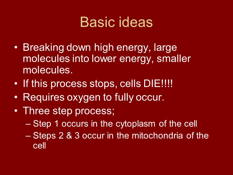 Basic ideas Breaking down high energy, large molecules into lower energy, smaller molecules. If this process stops, cells DIE!!!! Requires oxygen to f