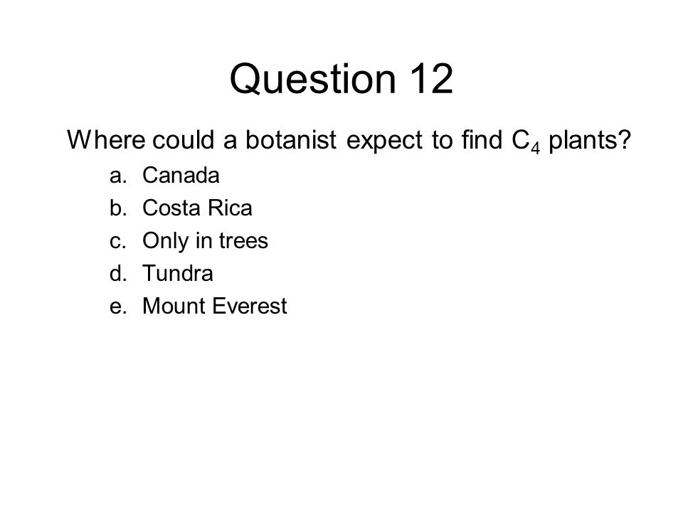 Question 12 Where could a botanist expect to find C 4 plants? a.Canada b.Costa Rica c.Only in trees d.Tundra e.Mount Everest