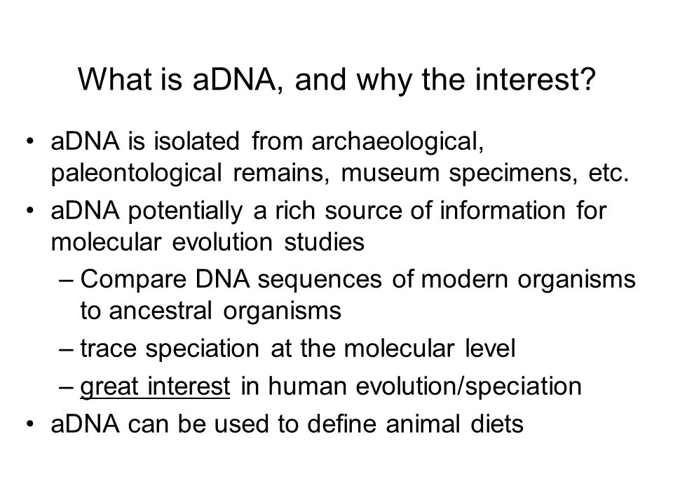 What is aDNA, and why the interest? aDNA is isolated from archaeological, paleontological remains, museum specimens, etc. aDNA potentially a rich sour