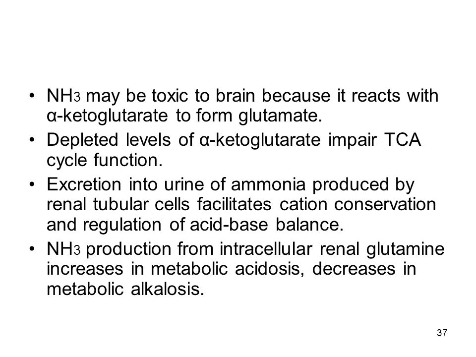 NH 3 may be toxic to brain because it reacts with α-ketoglutarate to form glutamate. Depleted levels of α-ketoglutarate impair TCA cycle function. Exc