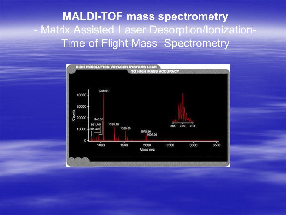 MALDI-TOF mass spectrometry - Matrix Assisted Laser Desorption/Ionization- Time of Flight Mass Spectrometry