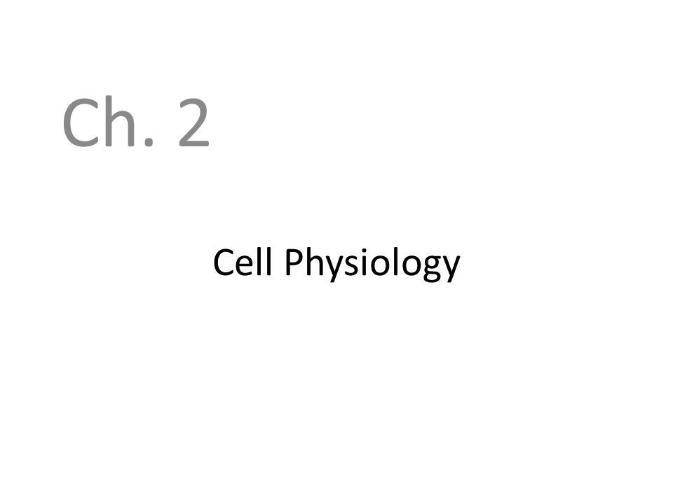 Cell Physiology Ch. 2