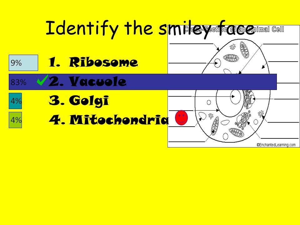 Identify the smiley face 1.Ribosome 2.Vacuole 3.Golgi 4.Mitochondria