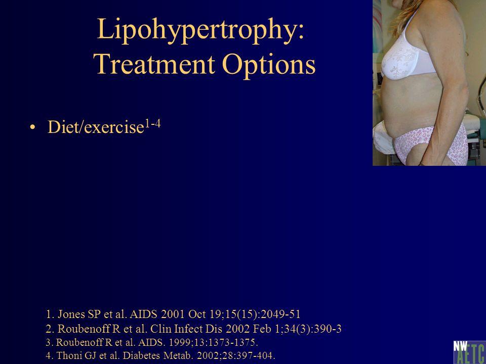 Lipohypertrophy: Treatment Options Diet/exercise 1-4 1. Jones SP et al. AIDS 2001 Oct 19;15(15):2049-51 2. Roubenoff R et al. Clin Infect Dis 2002 Feb
