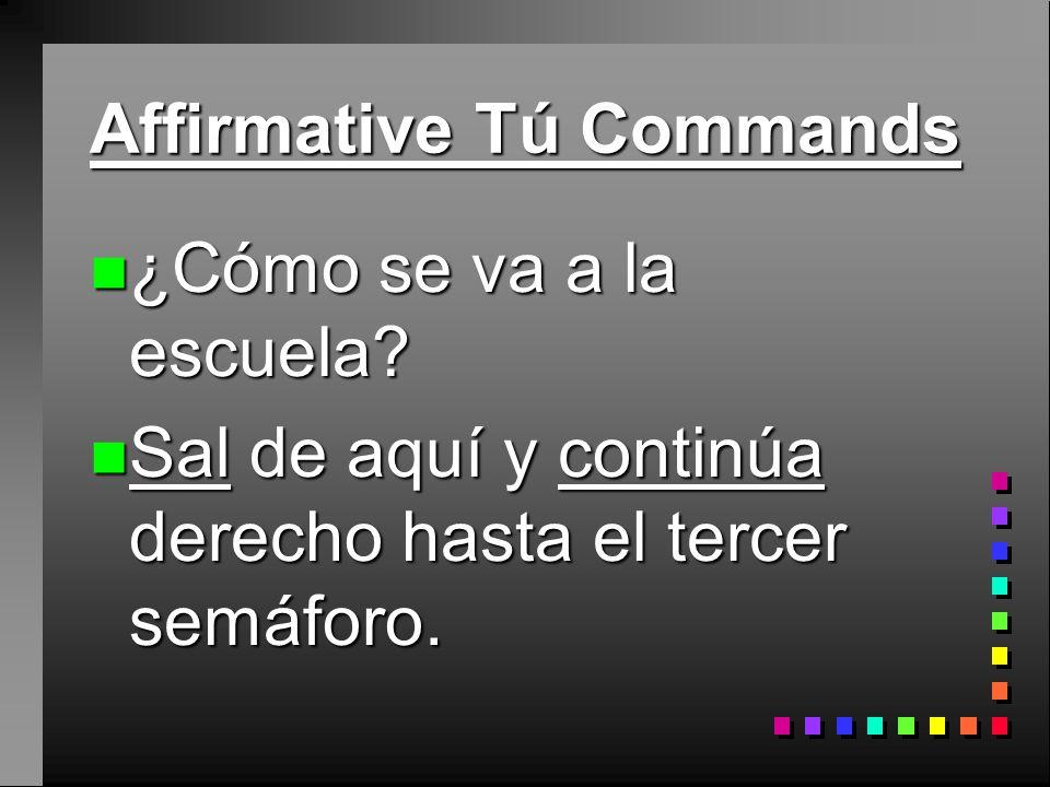 Affirmative Tú Commands n Hacer, Ser, and Ir have irregular tú command forms that must be memorized: n haz, sé, ve