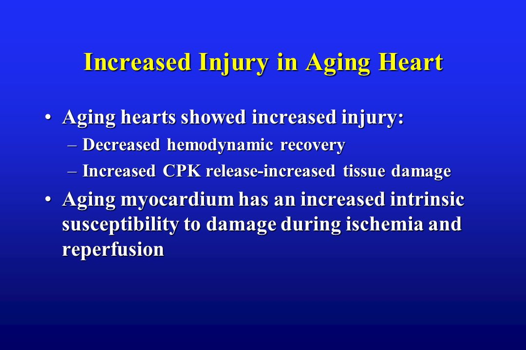 Increased Injury in Aging Heart Aging hearts showed increased injury:Aging hearts showed increased injury: –Decreased hemodynamic recovery –Increased CPK release-increased tissue damage Aging myocardium has an increased intrinsic susceptibility to damage during ischemia and reperfusionAging myocardium has an increased intrinsic susceptibility to damage during ischemia and reperfusion