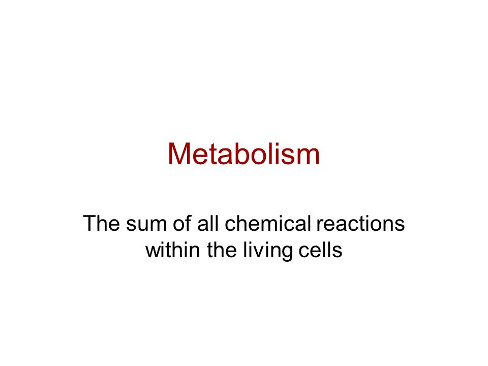 Metabolism The sum of all chemical reactions within the living cells