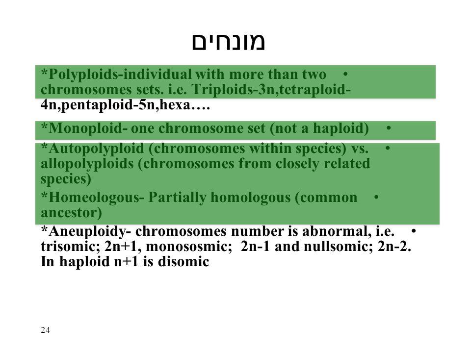 מונחים *Polyploids-individual with more than two chromosomes sets.