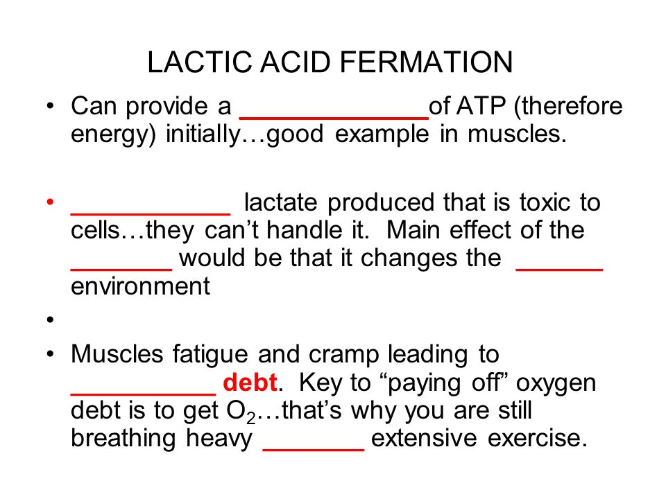 LACTIC ACID FERMATION Can provide a _____________of ATP (therefore energy) initially…good example in muscles.