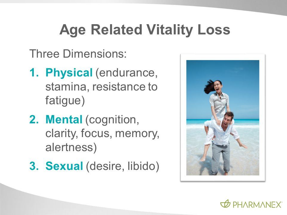 Age Related Vitality Loss Three Dimensions: 1.Physical (endurance, stamina, resistance to fatigue) 2.Mental (cognition, clarity, focus, memory, alertn