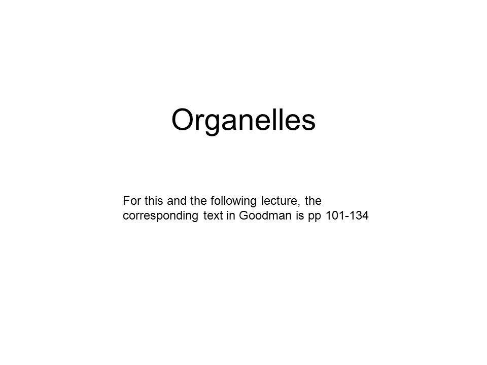 Organelles For this and the following lecture, the corresponding text in Goodman is pp 101-134