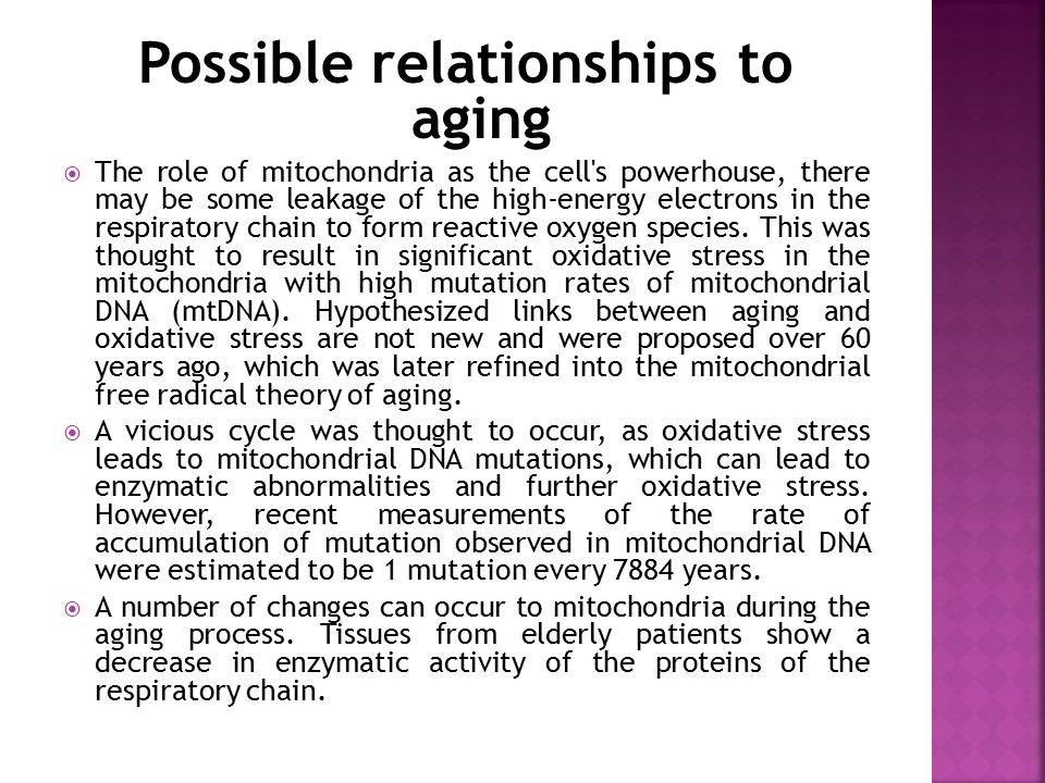 Possible relationships to aging  The role of mitochondria as the cell's powerhouse, there may be some leakage of the high-energy electrons in the res